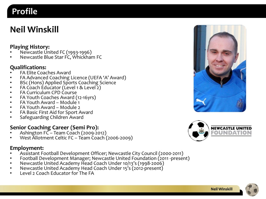 Training the Defensive Midfielder - by Neil Winskill, NEWCASTLE UNITED ACADEMY
